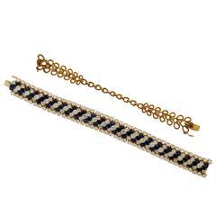 Van Cleef & Arpels Sapphire Diamond 18K Yellow Gold Bracelet and Choker Necklace