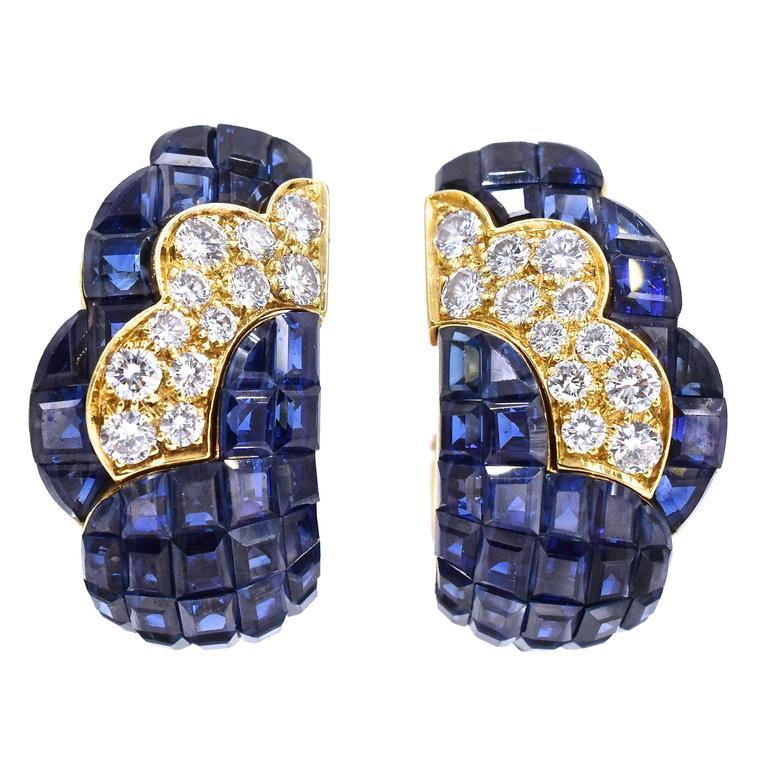 Van Cleef & Arpels Mystery-Set Sapphire Diamond Gold Earrings