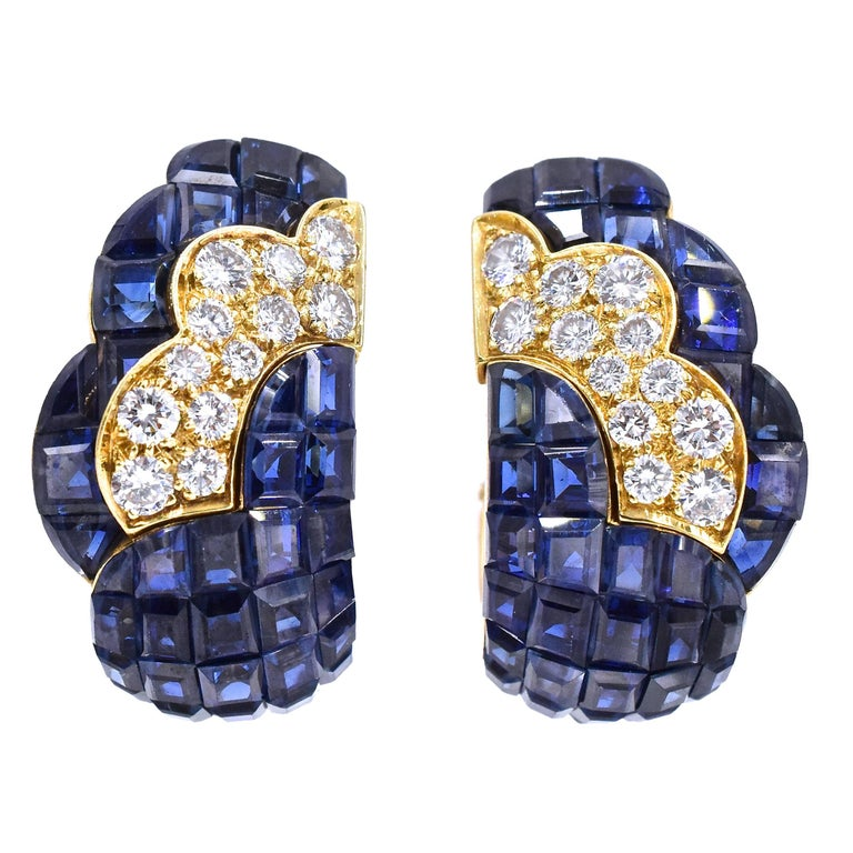 Van Cleef & Arpels Mystery-Set Sapphire Diamond Gold Earrings For Sale
