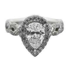 1.38 Carat Pear Shaped Diamond Platinum Engagement Ring