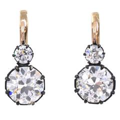 Timeless Old European Diamond Double Drop Earrings