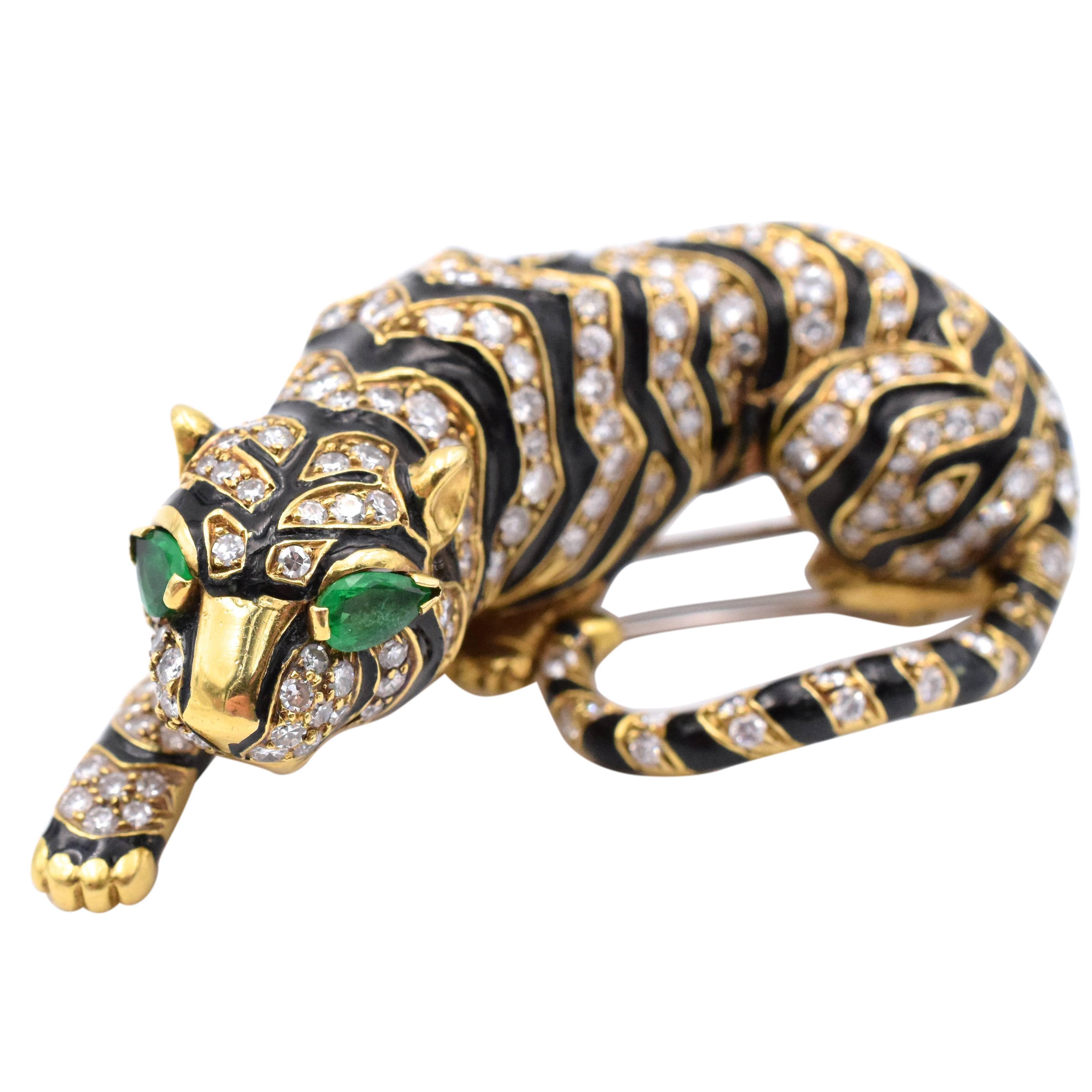 David Webb Diamond Tiger Brooch
