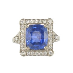 French Ceylon Sapphire Diamond Gold Ring