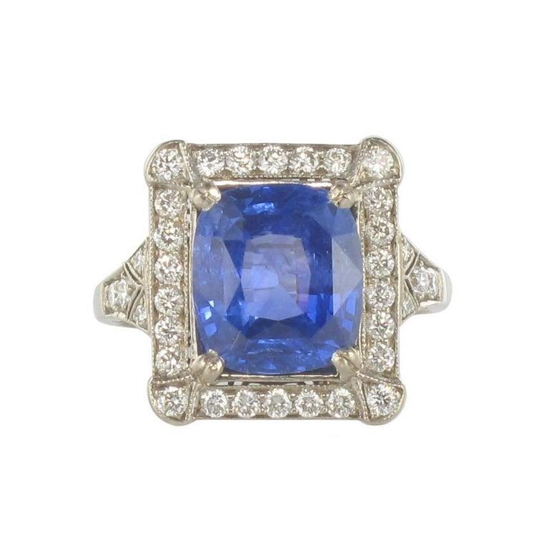 French Ceylon Sapphire Diamond Gold Ring