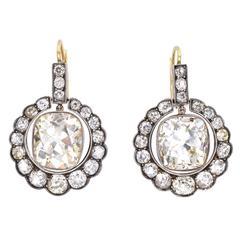 Victorian, 23.17 Carat Old Cushion Shape Diamond Earrings