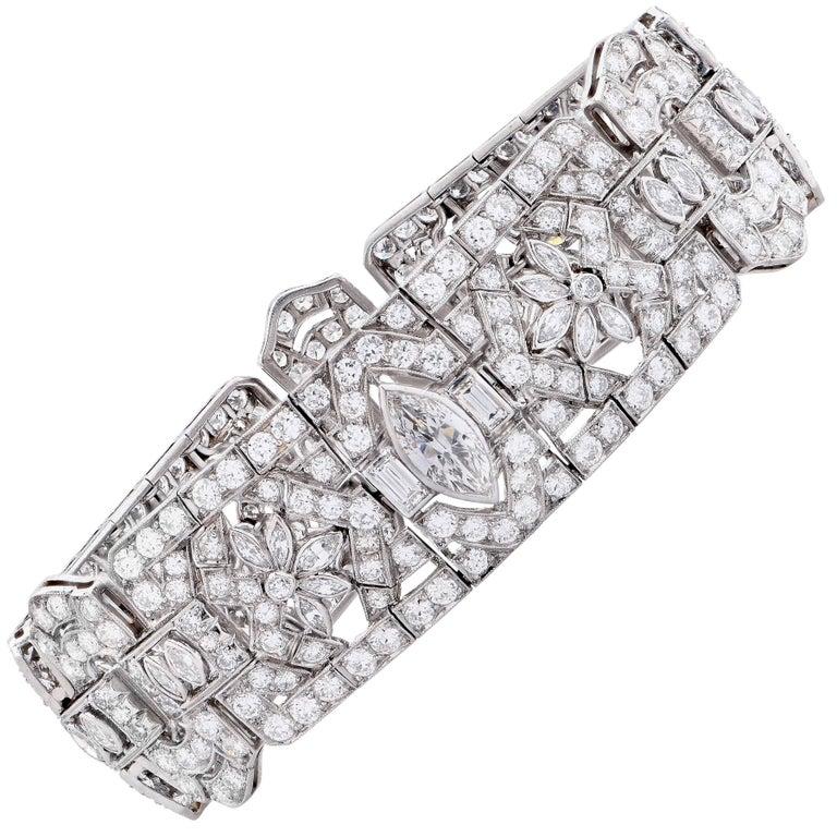 15 Carat Art Deco Diamond Platinum Bracelet