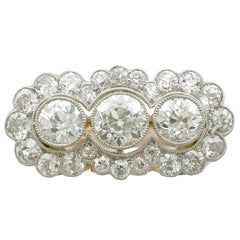 1920s 4.59 Ct Diamond & Yellow Gold Platinum Set Cluster Ring