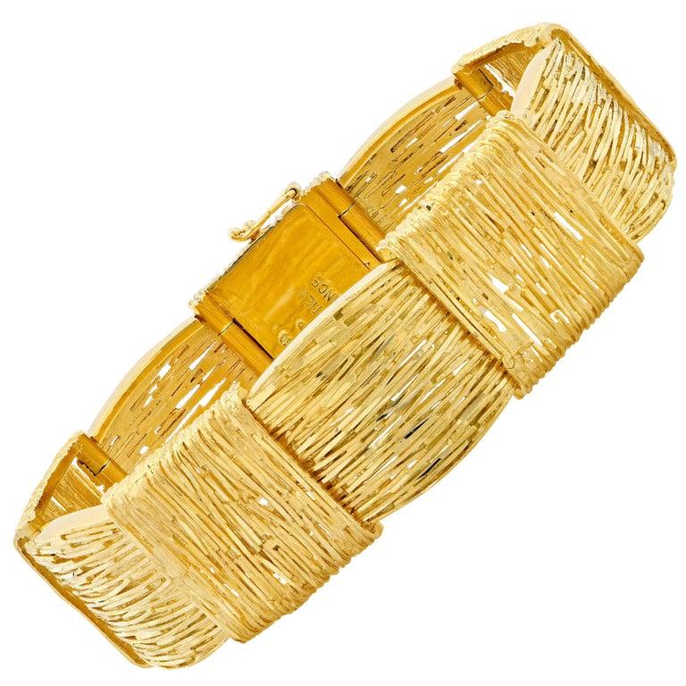 Cartier Wheat Motif 18 Karat Yellow Gold Bracelet For Sale