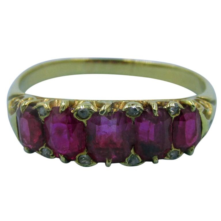 Antique Five-Stone Ruby Ring with Diamonds