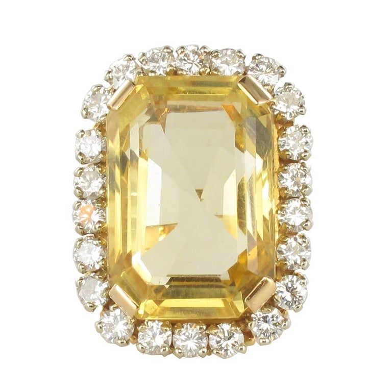 1960s 22.85 Carat Citrine 2.65 Carat Diamond 18 Carat Gold Ring
