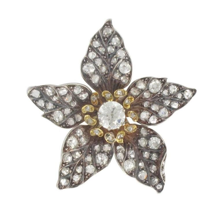 French Antique 19th Century Diamond Silver Gold Flower Pendant