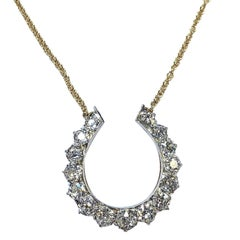 Antique 2 Carats of Diamonds Horse Shoe Gold Necklace