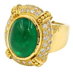 12.59 Carat Cabochon Emerald 1.32 Ct Diamonds Gold Neiman Marcus Ring