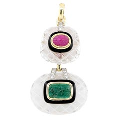 David Webb 1970s Rock Crystal Emerald Ruby Diamond Black Enamel Pendant