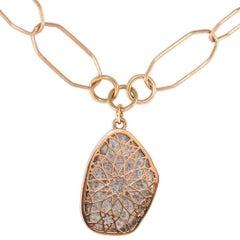 Luca Jouel Unique Spotty Diamond Slice Rose Gold Necklace