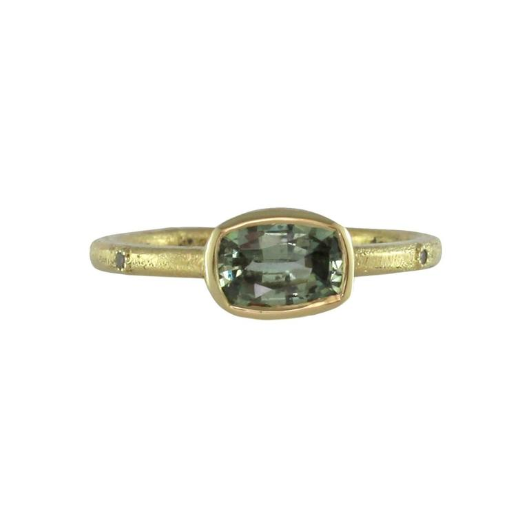 Luca Jouel Green Sapphire & Champagne Diamond Gold Ring 2