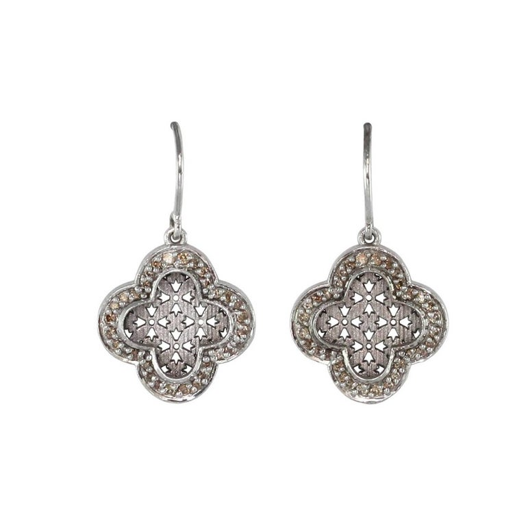 Luca Jouel Champagne Diamond and Palladium Earrings