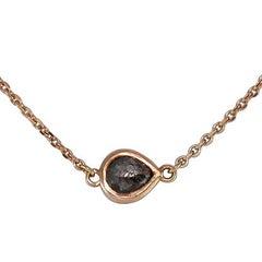 Luca Jouel Rose Cut Pear Diamond Petite Rose Gold Necklace
