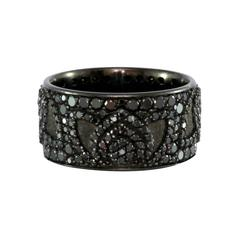 Black Diamond Palladium Lotus Ring