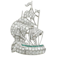 Antique 2.65 Carat Diamond and Emerald Platinum Ship Brooch