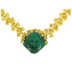 French Empire Malachite Cameo Gold Necklace