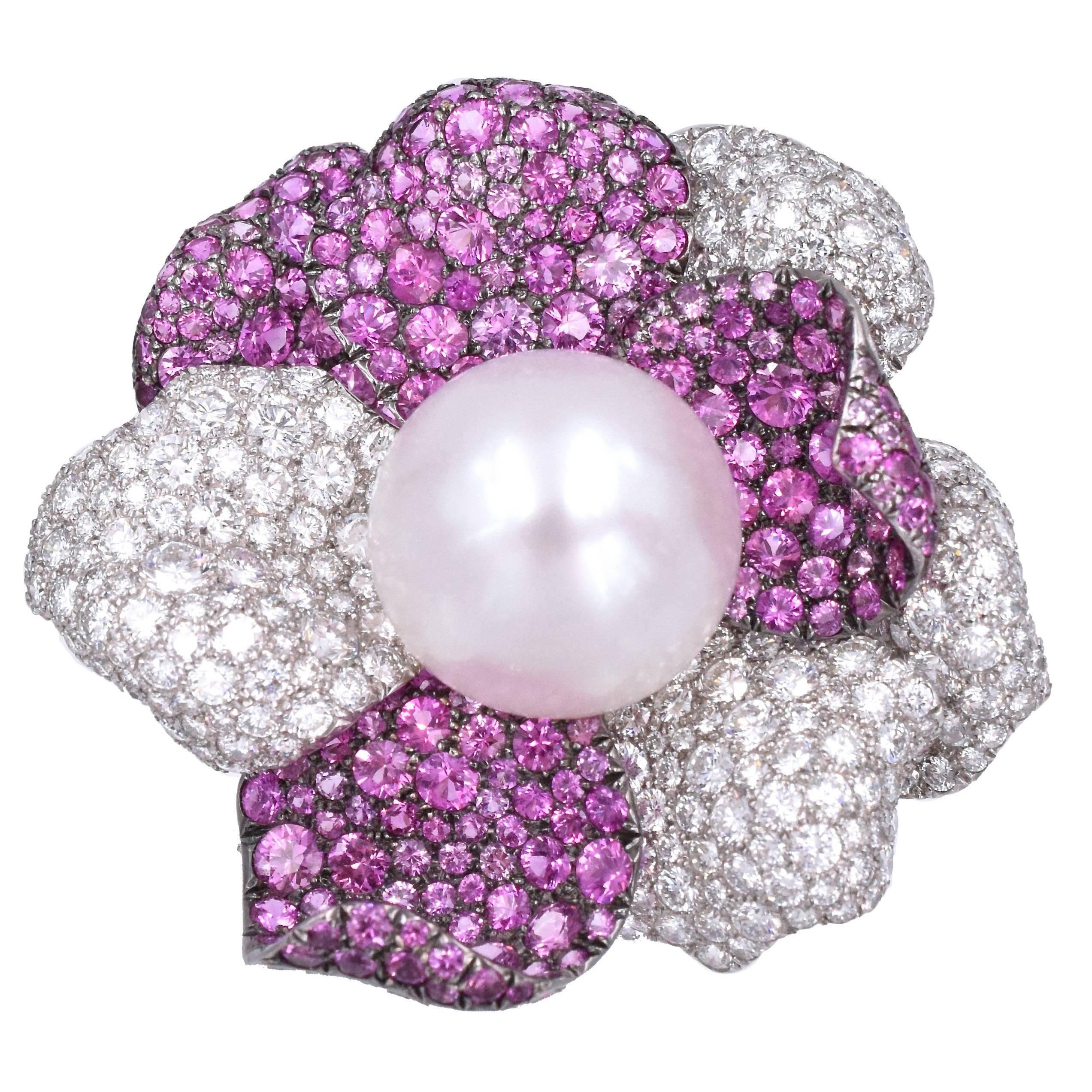 De Grisogono Pearl, Diamond and Pink Sapphire Brooch