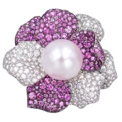 De Grisogono Pearl, Diamond and Pink Sapphire Brooch
