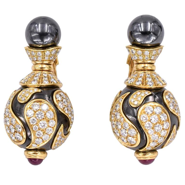 Chopard Diamond and Hematite Earrings For Sale