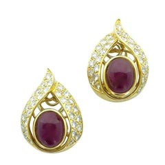 Cartier Paris Ruby Diamond Gold Earclips