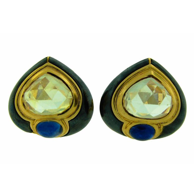 1980s Bulgari Sapphire Hematite Gold Earrings 1