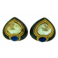 1980s Bulgari Sapphire Hematite Gold Earrings
