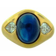 1970s Bulgari Cabochon Sapphire Diamond Gold Ring