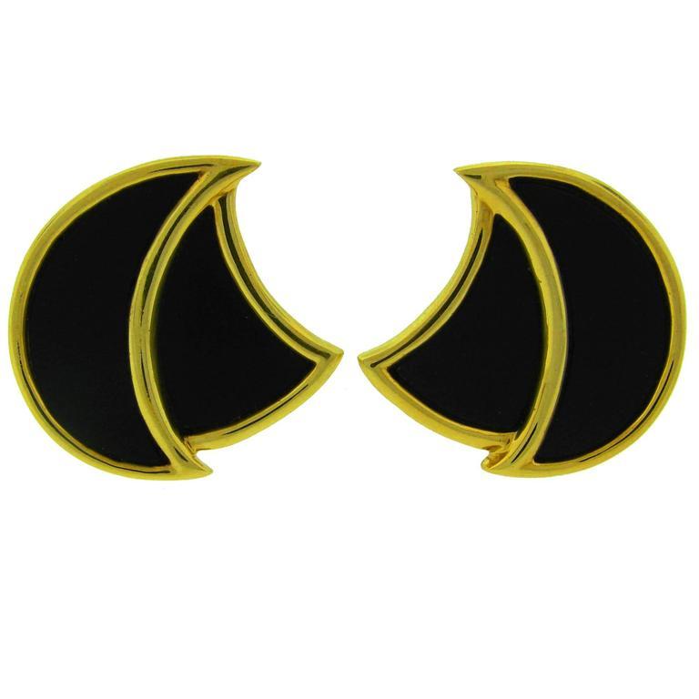 1970s Henry Dunay Black Onyx Gold Earrings For Sale