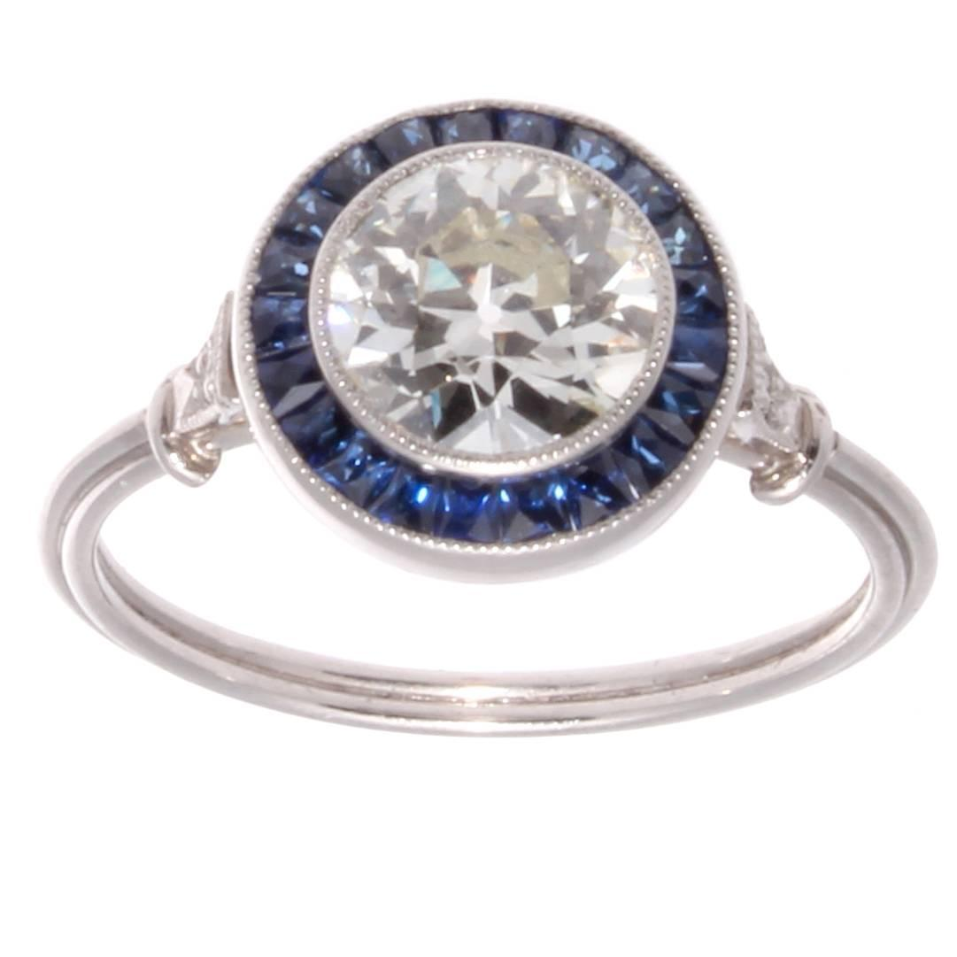 Approximately 1 10 Carat Diamond Sapphire Platinum Engagement Ring at 1stdibs