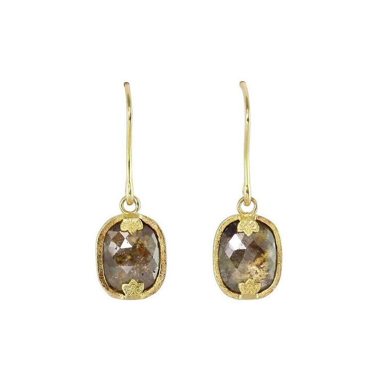 Luca Jouel Rose Cut Diamond Gold Drop Jolie Laide Earrings
