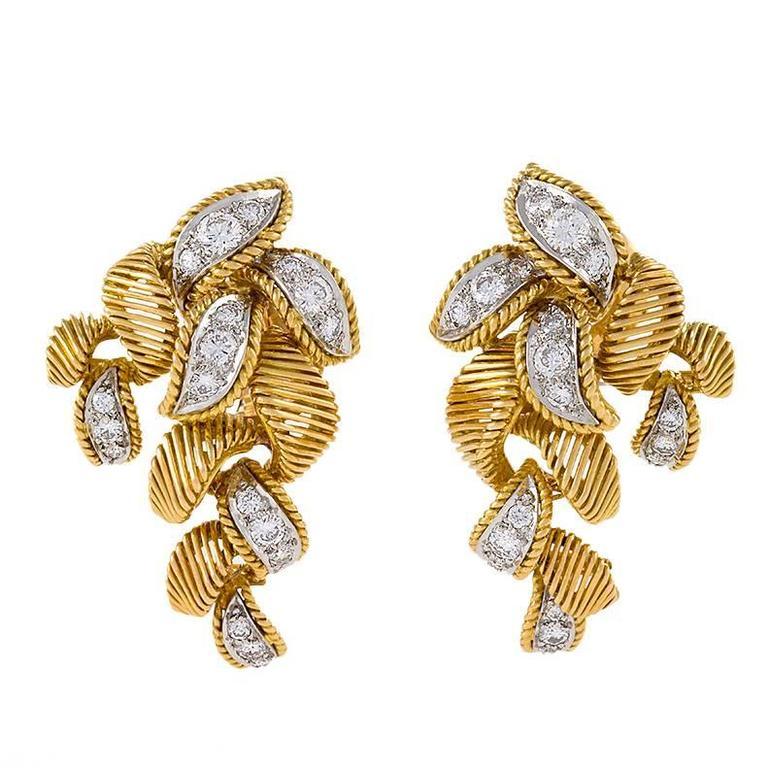 Van Cleef & Arpels Paris Georges L'Enfant Mid-20th Century Diamond Gold Earrings