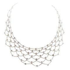 Diamond Gold Modern Web Necklace