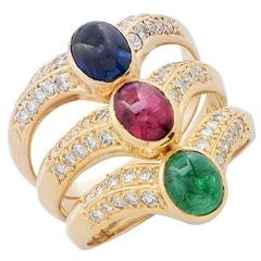 Triple Row Ruby Emerald Sapphire Diamond 18 Karat Yellow Gold Ring