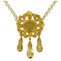 French Antique Romantic Citrine Gold Brooch Pendant