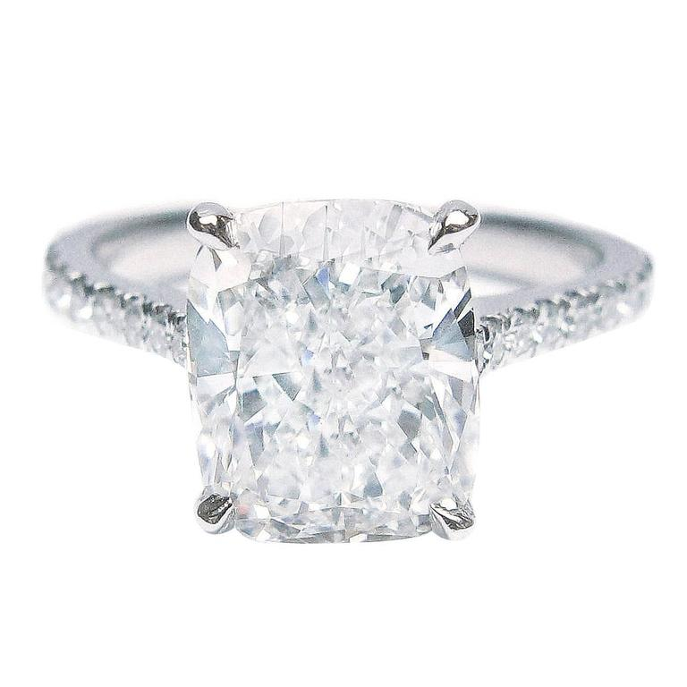 3 02 Carat GIA Cert Cushion Cut Diamond Platinum Ring at 1stdibs