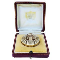 Cartier London Gold Pill Box with Original Fitted Case 1953 Elizabeth Coronation
