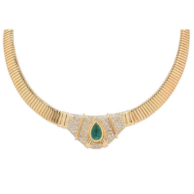 3 Carat Natural Cabochon Drop Emerald Diamond Gold Tubogas Necklace