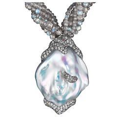 Naomi Sarna Pearl Diamond Labradorite Gold Necklace