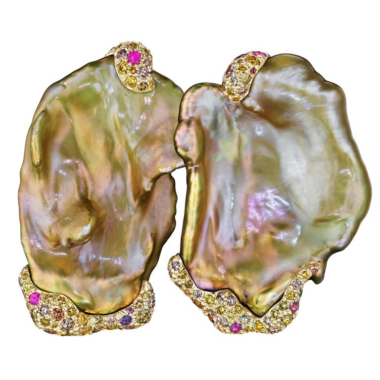 Naomi Sarna Freshwater Pearl Sapphire Diamond Gold Earrings For Sale