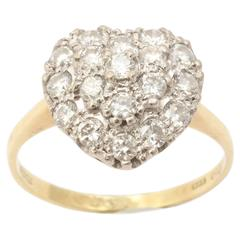 18 kt Transitional and European Diamond Heart Ring