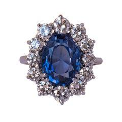 7.42 Carat Ceylon Sapphire Diamond Gold Ring