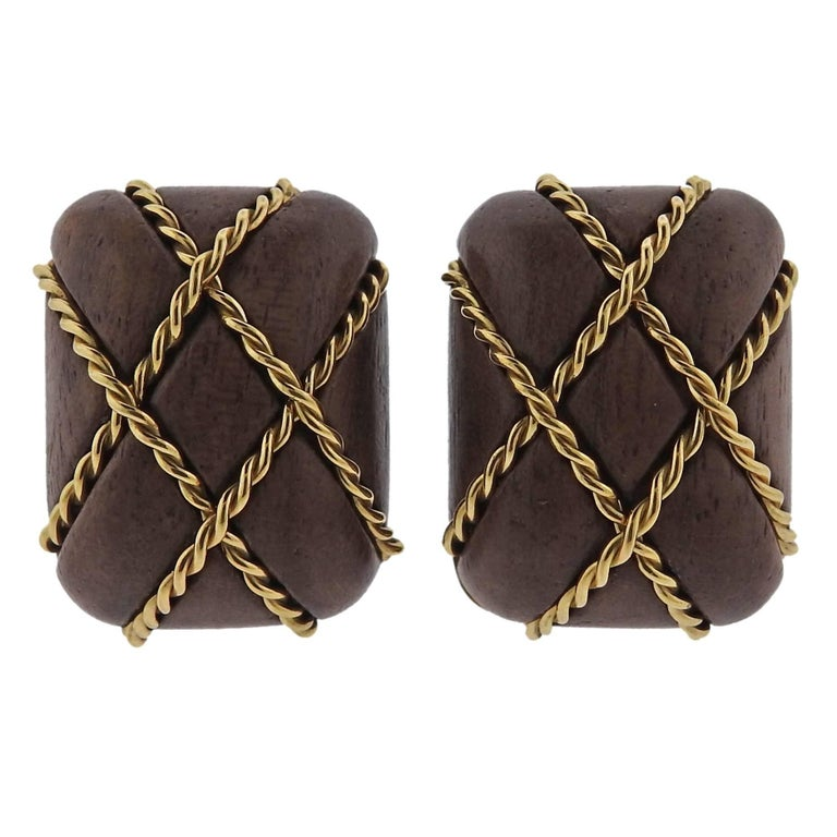 Seaman Schepps Wood Gold Cage Earrings