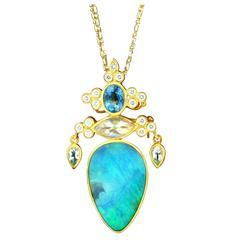 Paula Crevoshay Boulder Opal Aquamarine Moonstone Gold Pendant