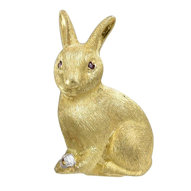 Ruby Diamond Gold Bunny Pin