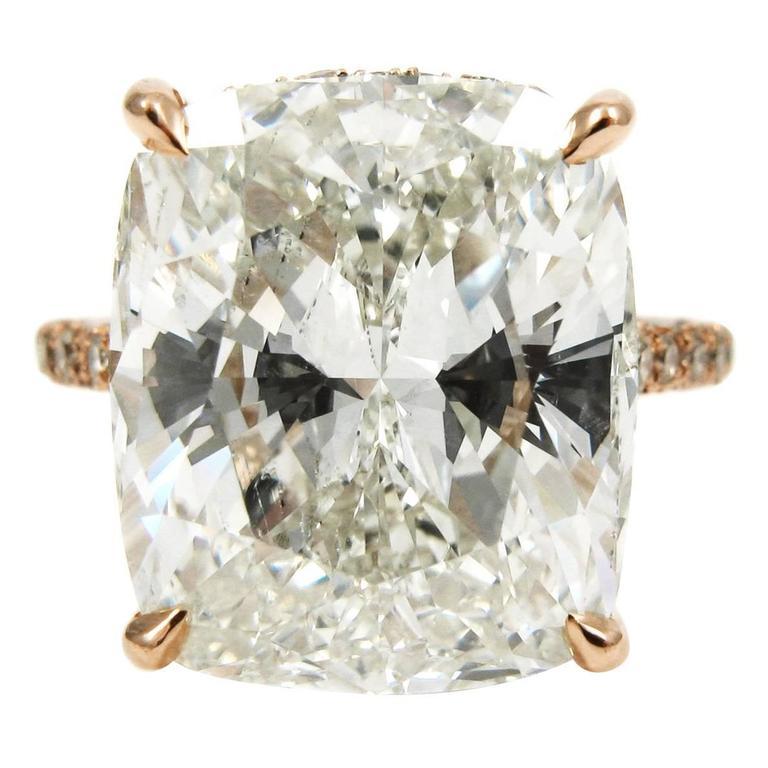 10.35 Carat Cushion Diamond and Rose Gold Engagement Ring GIA